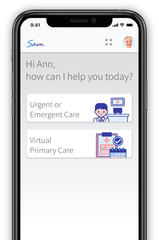 Phone showing SAM app screen